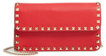 Rockstud Leather Wallet on a Chain