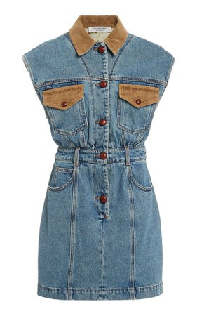Corduroy-Trimmed Denim Mini Dress By Philosophy Di Lorenzo Serafini   Moda Operandi