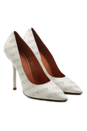 Perforated Logo Leather Pumps Gr. IT 38