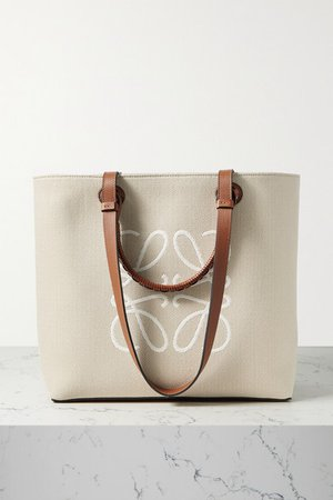 Anagram Medium Leather-trimmed Embroidered Canvas Tote - Beige