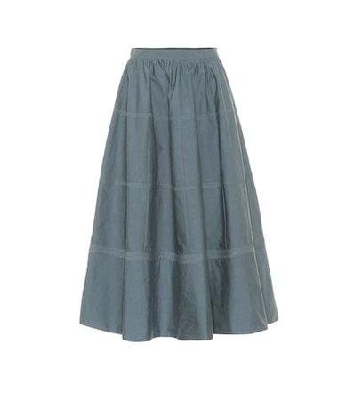 Cotton and silk midi skirt