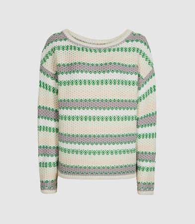 Anna Green/white Pastel Stripe Knitted Jumper – REISS