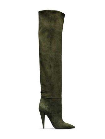 Saint Laurent Green Era 110 Suede Ruched Knee Boots - Farfetch