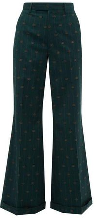 Gg Pinstripe Wool Twill Flared Trousers - Womens - Green Multi