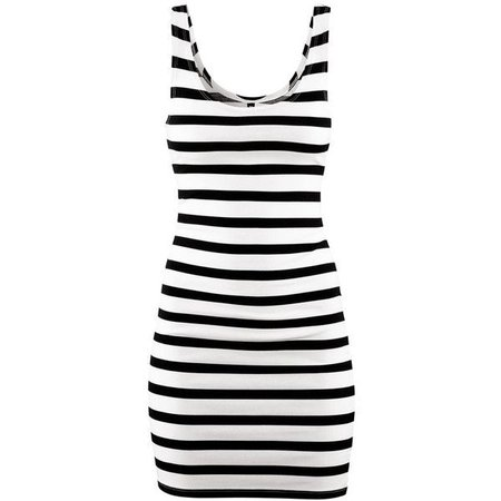 *clipped by @luci-her* Black/White Stripe Tank Dress