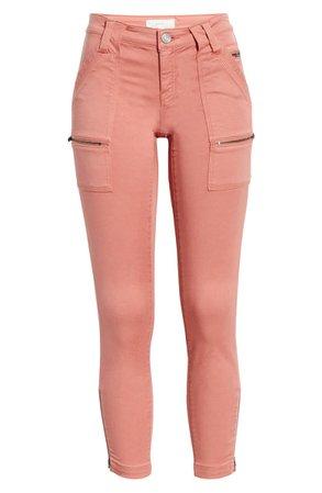 Joie Park Crop Skinny Zip Pants pink