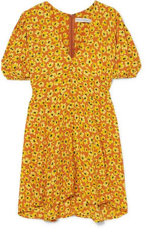 Ilia Floral-print Crepe Mini Dress - Saffron