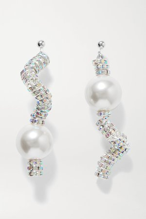 Silver Snake silver-plated, crystal and faux pearl earrings | PEARL OCTOPUSS.Y | NET-A-PORTER