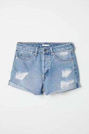 Denim Shorts - Denim blue/Trashed - Ladies   H&M US