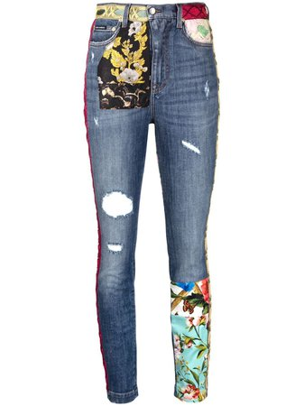 Dolce & Gabbana Patchwork slim-fit Jeans - Farfetch