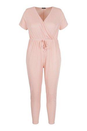 Plus Rib Wrap Jersey Jumpsuit   boohoo pink