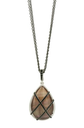 FREIDA ROTHMAN Grey Mother-of-Pearl & Pavé Pendant Necklace | Nordstrom