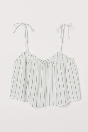 Short Ruffle-trim Camisole Top - White