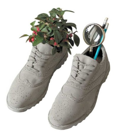 off white sneakers w/ cherries + magnifying glass + supplies (vintage)