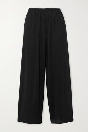 Cropped Jersey Pants - Black