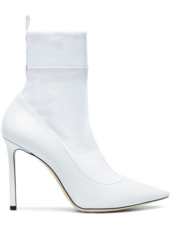 Jimmy Choo White Brandon 100 Sock Boots £325 - Shop Online - Fast Global Shipping, Price