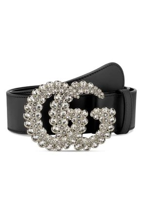 Gucci GG Crystal Buckle Leather Belt | Nordstrom