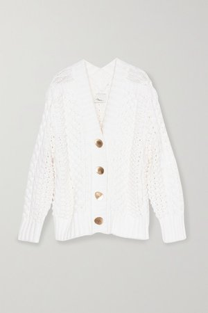 Cable-knit Wool-blend Cardigan - White