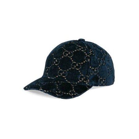 GG velvet baseball cap in Sapphire blue GG velvet | Gucci Men's Hats & Gloves