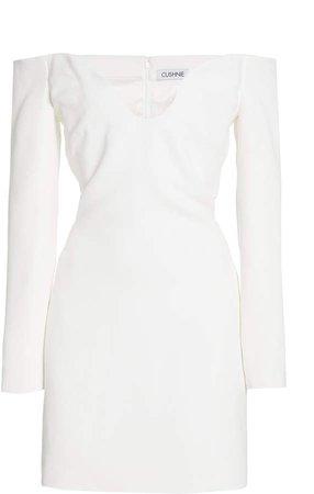 Cushnie Off-The-Shoulder Crepe Mini Dress