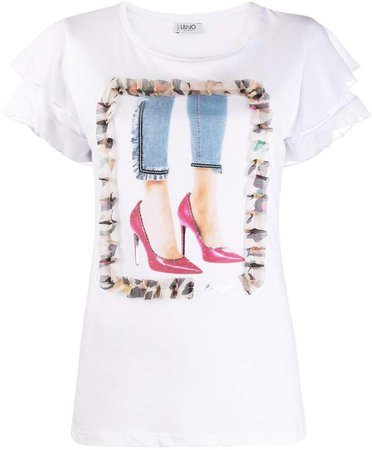graphic-print flounce-sleeve T-shirt