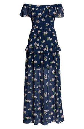 Charles Henry Off the Shoulder Ruffle Maxi Dress Blue