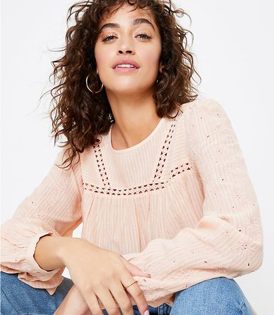 Embroidered Popover Blouse   LOFT
