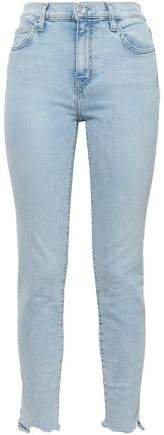 The High Waist Ankle Cropped Distressed High-rise Skinny Jeans