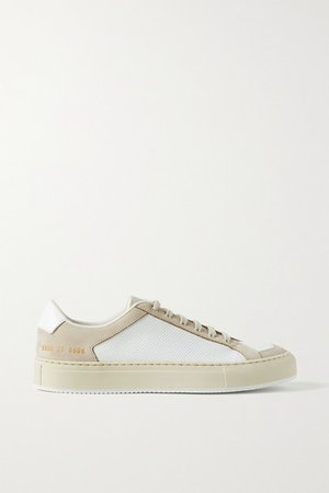 Retro Two-tone Perforated Leather And Nubuck Sneakers - White