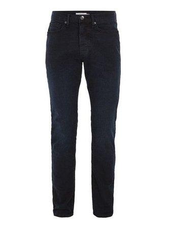 Mens Blue Overdyed Stretch Slim Jeans