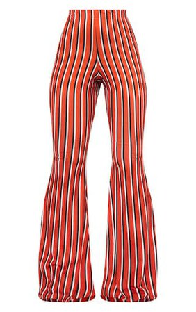 Red Jersey Vertical Stripe Flared Trousers   PrettyLittleThing