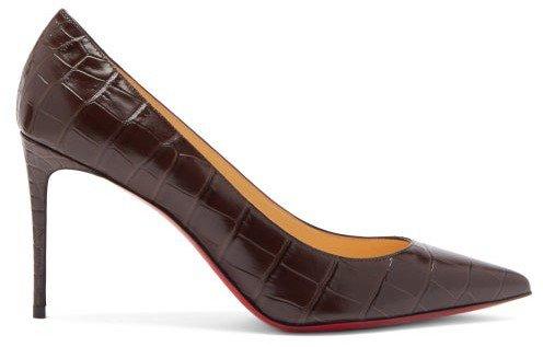 Kate 85 Crocodile-effect Leather Pumps - Dark Brown