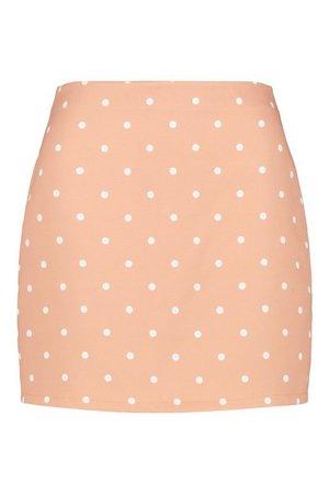 Pastel Polka Dot A Line Mini Skirt | boohoo