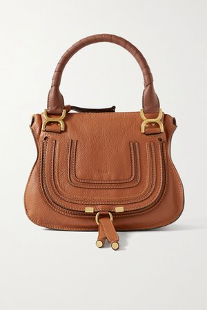 Tan Marcie small textured-leather tote | Chloé | NET-A-PORTER