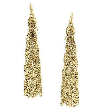 Gold Tone Tassel Chain Earrings