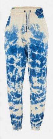 blue tie dye slogan joggers