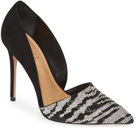 Irina Crystal Zebra Stripe Pointed Toe Pump