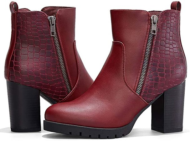 Amazon.com | mysoft Womens Ankle Boots Chunky High Heel Zipper Booties | Ankle & Bootie