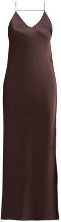 Raw Edged Satin Slip Dress - Womens - Brown