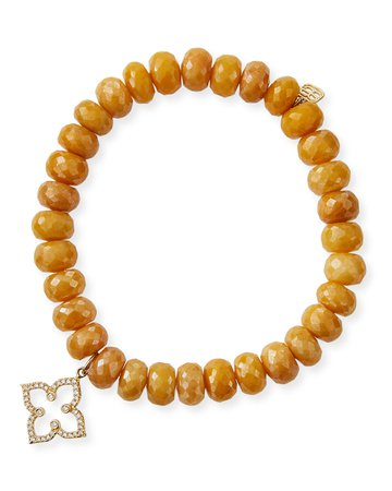 Sydney Evan 14k Diamond Moroccan Flower & Yellow Silverite Bracelet
