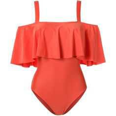 Adriana Degreas ruffled swimsuit (40.635 RUB) ❤ liked on Polyvore featuring swimwear, one-piece swimsuits, swimsuit, tops, swim, swim suit, swim wear, ruffle bathing suit, swim bathing suits and one piece swimsuit