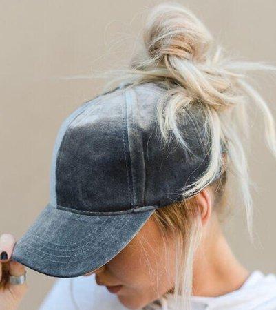 Messy Bun with cap