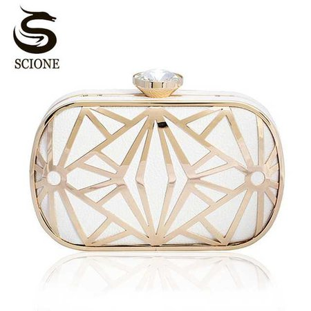 Luxurious Hollow Out Gold/White Clutch Crystal Diamond Evening Clutch Bags Purses Women Lady Bridal Chains Shoulder Handbags-in Top-Handle Bags from Luggage & Bags on Aliexpress.com | Alibaba Group