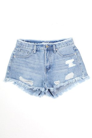 LE3NO Womens High Rise Vintage Washed Distressed Frayed Denim Shorts | LE3NO blue