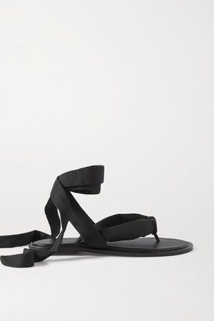 Shell And Leather Sandals - Black