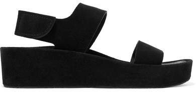 Lacey Suede Wedge Sandals - Black