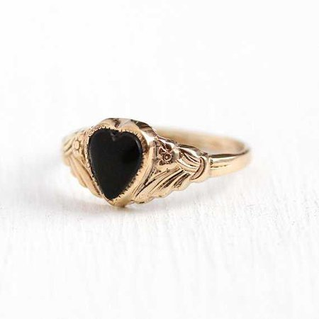 Vintage Heart Ring 12k Rosy Yellow Gold Filled Jet Black