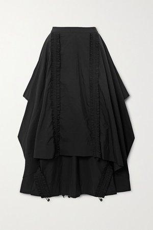 Draped Shirred Taffeta Maxi Skirt - Black