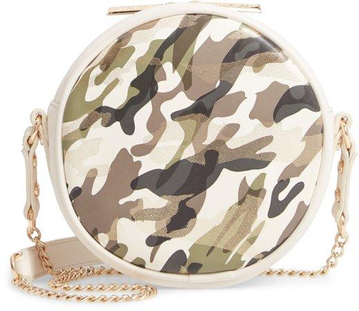 Kris Camo Print Vegan Leather Crossbody Bag