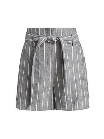 Theory High-Waist Striped Linen Shorts on SALE | Saks OFF 5TH